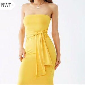 NWT S Strapless Bodycon Stretch Tube Dress w/ Tie